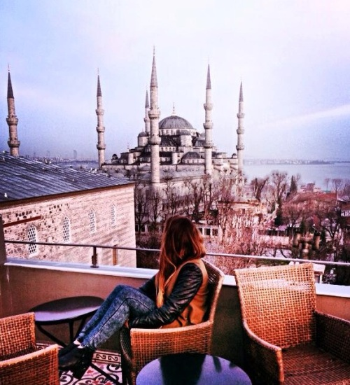 Our hotel in the historical Sultanahmet district of Istanbul, the Pasha Ibrahim Hotel, had a gorgeous rooftop overlooking the entire city.  Breathtaking.