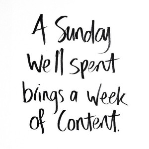 Sunday well spent brings a week of content