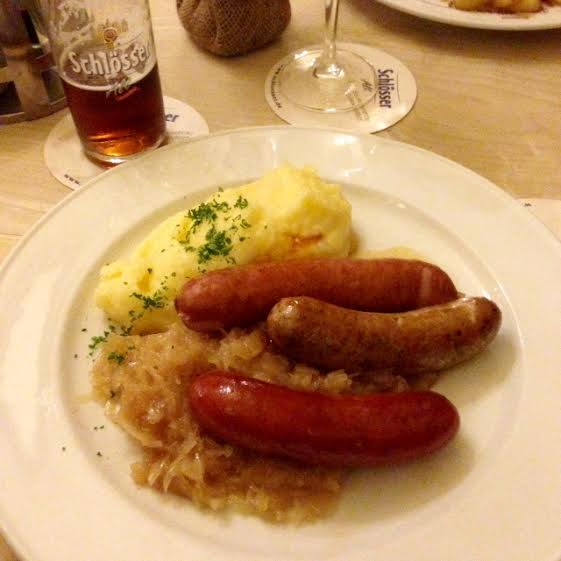 Altbier, three regional sausages and sauerkraut | Photo by McKenna